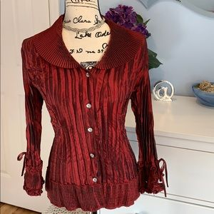 Agora Dramatic Ruby Pleated Button Up Top